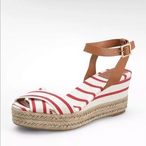 💃🏻TORY BURCH RED & TAN STRIPED CANVAS 👡